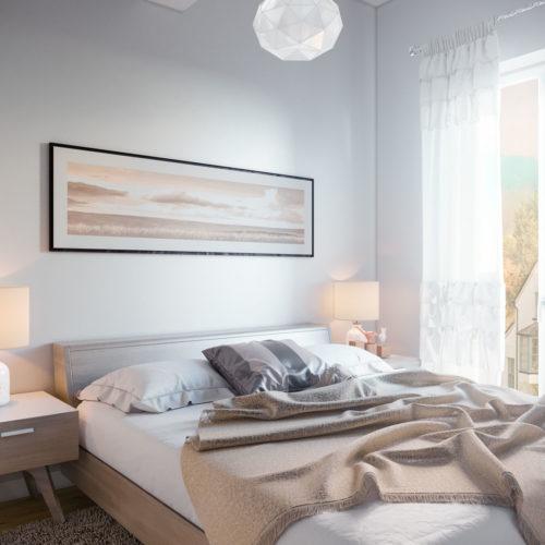 randare proiect dormitor apartament 2 camere primul bloc din ansamblul rezidential Parc Babes Baia Mare